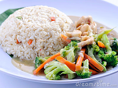 Vegetables fried rice asia food