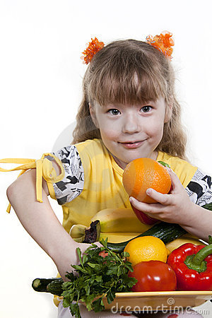 Vegetables and fruit of children.