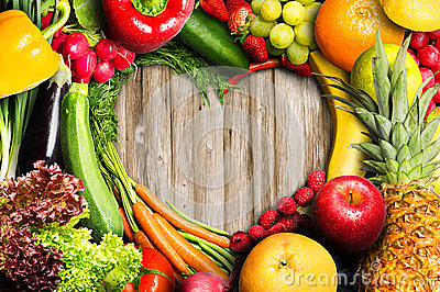 Vegetables and Fruit Heart Stock Photo