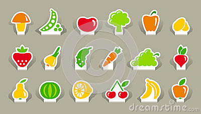 Vegetables and fruit icons on stickers