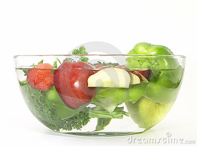 Vegetables and fruits in a clear bowl; 3 of 5