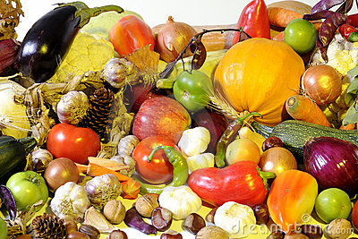 Vegetables and fruits isolated