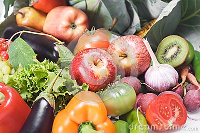 Vegetables & fruits isolated