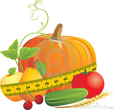 Vegetables and fruits with measuring tape