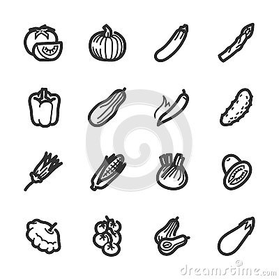 Free Vegetables Icons – Bazza Series Royalty Free Stock Image - 39175866