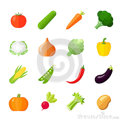 Free Vegetables Icons Flat Royalty Free Stock Photography - 47597687