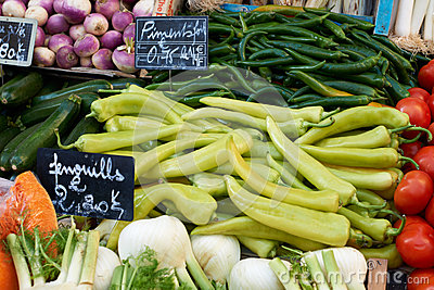 Vegetables on market stall