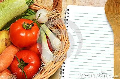 Vegetables and menu book