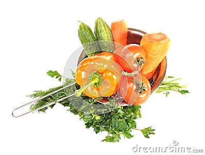 Vegetables in a metal colander