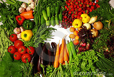 Vegetables mix on white