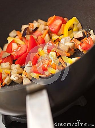 Vegetables in the pan