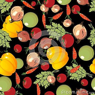 Vegetables pattern on black