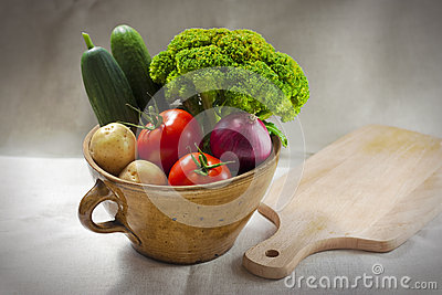 Vegetables in a pot