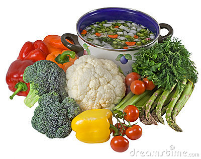 Vegetables and pot of soup.Isolated over white.