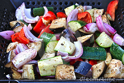 Vegetables Roasting In a Grill Wok