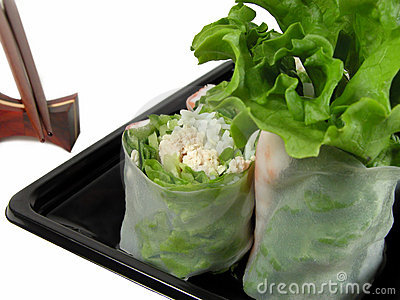 Vegetables roll and chopsticks