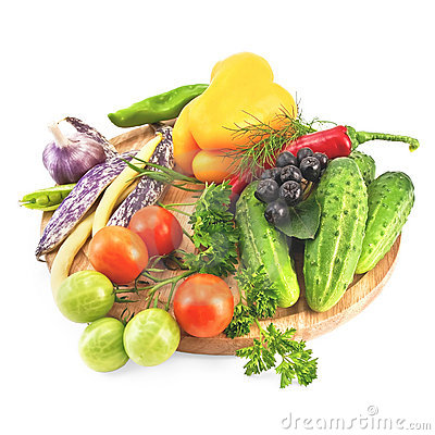 Vegetables on a round board