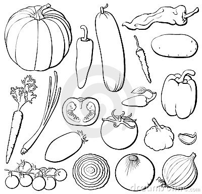Vegetables set b&w