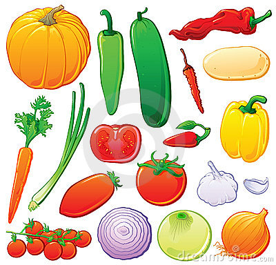 Free Vegetables Set With Color Outlines Royalty Free Stock Photo - 6821315