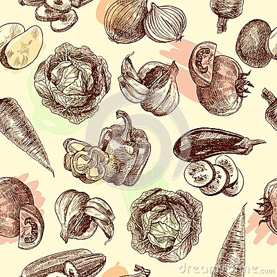 Free Vegetables Sketch Seamless Pattern Stock Photography - 45730242