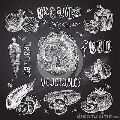 Free Vegetables Sketch Set Chalkboard Royalty Free Stock Photography - 45548437
