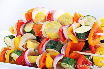 Vegetables on skewers to be grilled