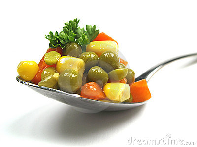 Vegetables on spoon