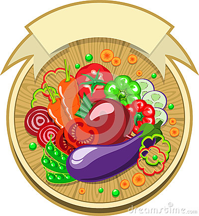 Vegetables sticker with ribbon
