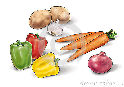 Vegetables still life  Illustration