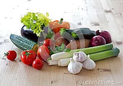 Vegetables on a sunlit kitchen table