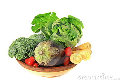 Vegetables in Wooden Bowl