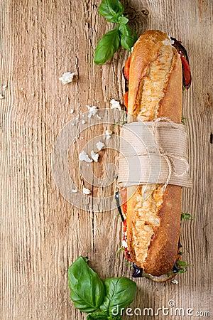 Free Vegetarian Baguette Sandwich Royalty Free Stock Photo - 72295425