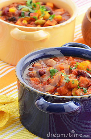 ... vegetarian chili full of tomato, beans, peppers, sweet potato and corn