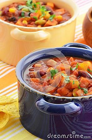 ... vegetarian chili full of tomato, beans, peppers, sweet potato and corn