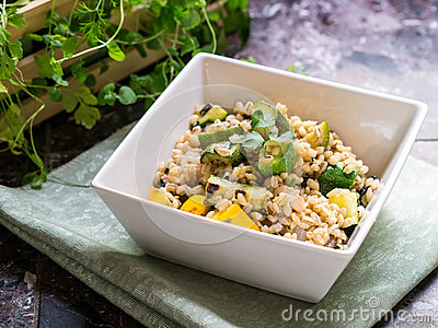 Vegetarian Dish - Barley and Grilled Vegetables