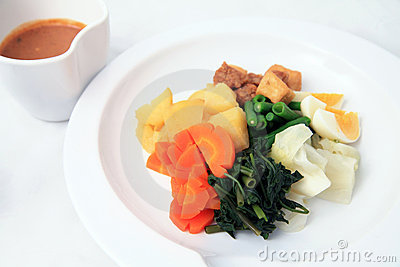 Vegetarian food named gado-gado