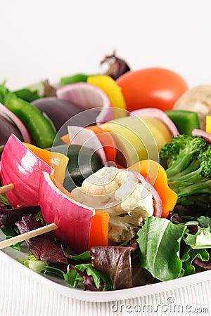 Vegetarian fresh skewers