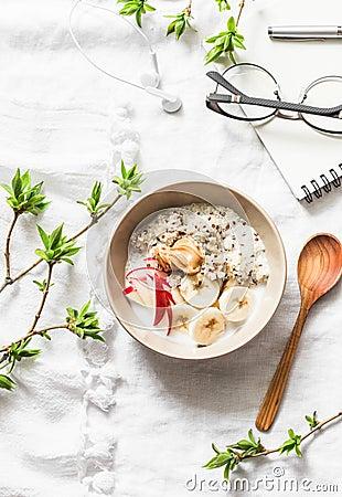 Free Vegetarian Gluten Free Breakfast - Quinoa, Coconut Milk, Banana, Apple, Peanut Butter Bowl On Light Background, Top View. Diet Pla Stock Image - 115695501