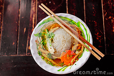 Vegetarian noodle soup pho vietnamese traditional cuisine.