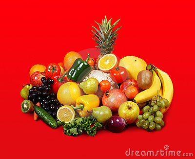 Vegetarian on red background