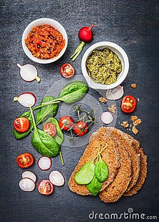 Free Vegetarian Sandwich Ingredients On Dark Background Royalty Free Stock Images - 63686429