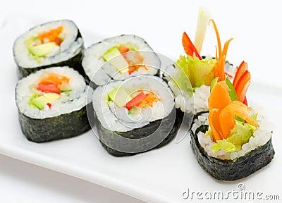 Vegetarian sushi rolls