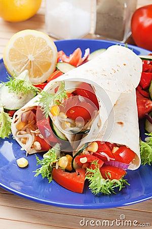 Vegetarian tortilla wraps