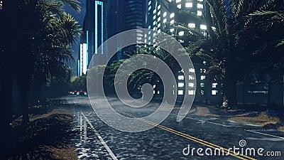 Vehículos futuristas de ciencia ficción vuelan por la autopista húmeda nocturna, a través de la ciudad nocturna El concepto del f almacen de metraje de vídeo