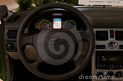 Vehicle control panel with embedded GLONASS satell Editorial Photo