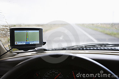 Vehicle dashboard with GPS.