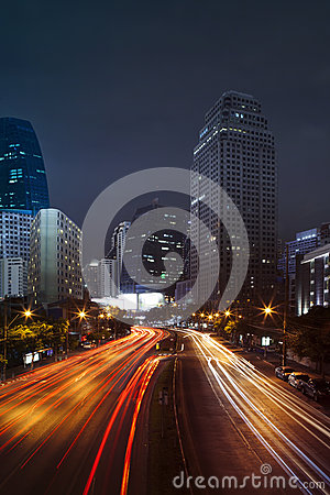Free Vehicle Lighting On Urban Road And Building Against Night Scene Royalty Free Stock Photos - 47945598