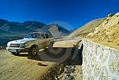 Vehicle on mountain road