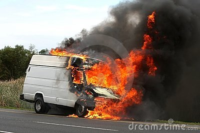 Vehicle with Raging Fire