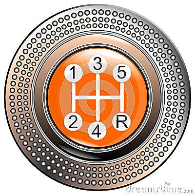 Vehicle s  car lever gear orange 5 speeds vector